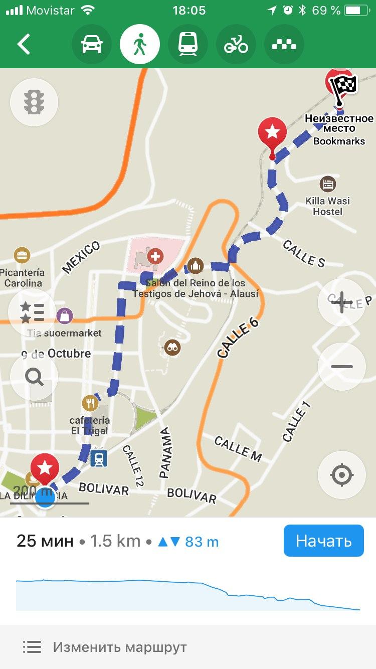 путь на карте от моего хостела к началу пути к Носу Дьявола