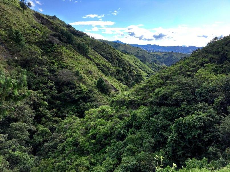 вот такие виды с холма на пути к водопаду