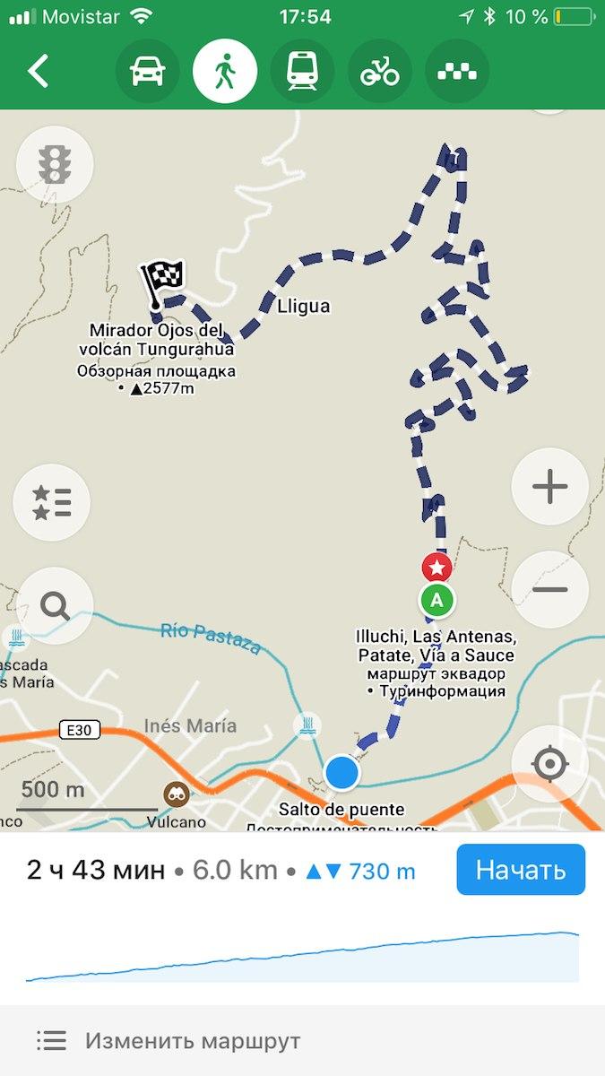 путь к мирадору глазам вулкана тунгурауа