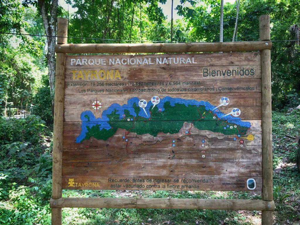 Карта национального парка Тайрона