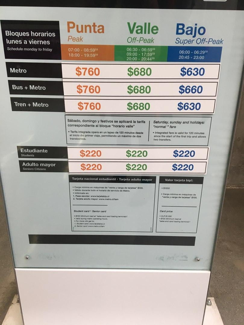 стоимость проезда в Сантьяго