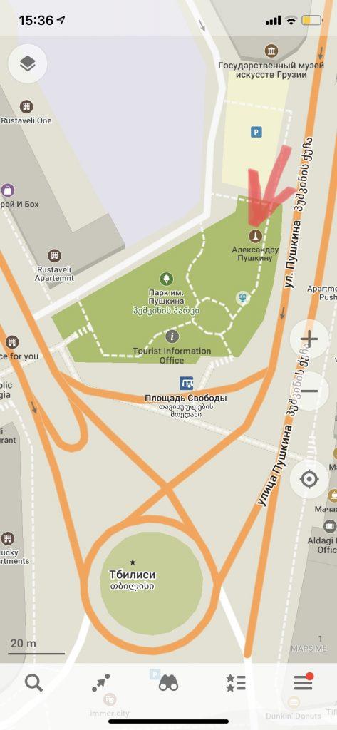 карта памятник пушкину на площади свободы