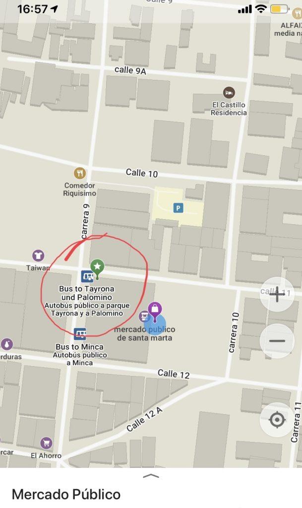 отметка на карте автобуса до Тайроны